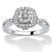 1/2 TCW Round Diamond Cluster Halo Engagement Ring in 10k White Gold