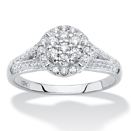 Diamond Engagement Wedding Ring in Solid 10k White Gold 1/2 TCW Round Halo with Split Shank at PalmBeach Jewelry