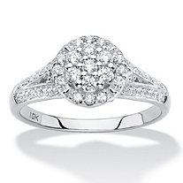 Diamond Engagement Wedding Ring in Solid 10k White Gold 1/2 TCW Round Halo with Split Shank