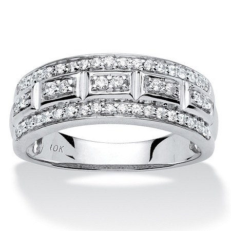 1/3 TCW Round Diamond Triple-Row Ring in 10k White Gold at PalmBeach Jewelry