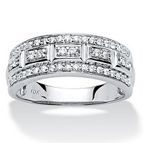 SETA JEWELRY 1/3 TCW Round Diamond Triple-Row Ring in 10k White Gold