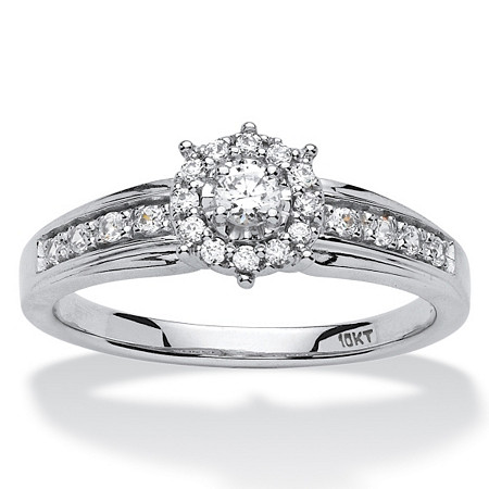 1/4 TCW Round Diamond Halo Engagement Ring in 10k White Gold at PalmBeach Jewelry