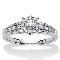 1/4 TCW Round Diamond Halo Engagement Ring in 10k White Gold