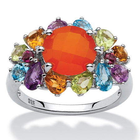 2.03 TCW Genuine Round Carnelian and Pear-Cut Multi-Gemstone Ring in Platinum over Sterling Silver at PalmBeach Jewelry