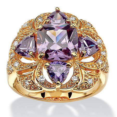 3.94 TCW Cushion Amethyst Cubic Zirconia Floral Motif Cocktail Ring 18k Gold-Plated at PalmBeach Jewelry