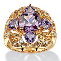 3.94 TCW Cushion Amethyst Cubic Zirconia Floral Motif Cocktail Ring 18k Gold-Plated