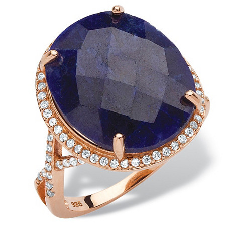 15.88 TCW Genuine Checkerboard-Cut Blue Sapphire Halo Ring in Rose Gold over Sterling Silver at PalmBeach Jewelry