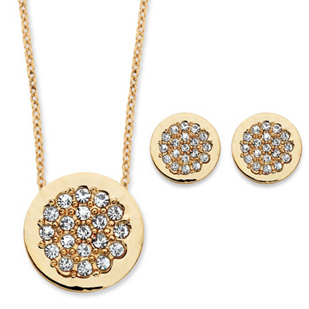 .86 TCW Round Cubic Zirconia Slide Pendant and Button Earrings Two-Piece Set in Gold Tone at PalmBeach Jewelry