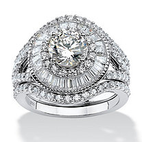 3.53 TCW Round Cubic Zirconia Double Halo 3-Piece Bridal Set in Platinum over .925 Sterling Silver