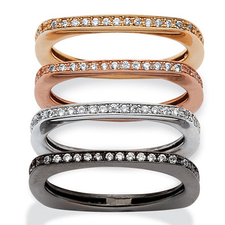 .90 TCW 4-Pc. Set of Squared-Back Cubic Zirconia Eternity Bands in Black, Rose, Gold and Silvertone at PalmBeach Jewelry