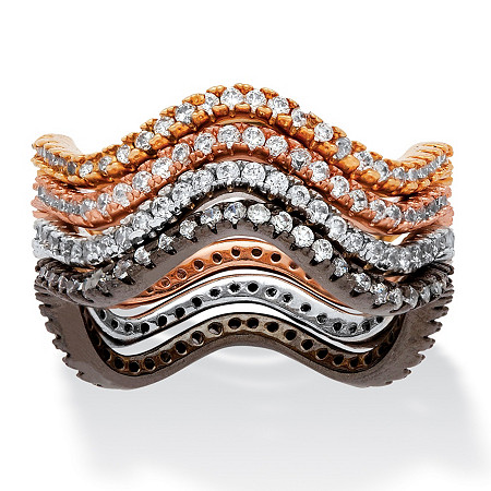 1.12 TCW Four-Piece Set of Wavy Stackable CZ Eternity Bands in Black, Rose, Gold and Silvertone at PalmBeach Jewelry