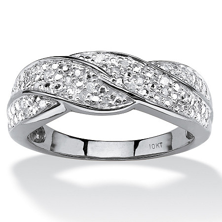 1/10 TCW Round Diamond Twisted Shank Ring in 10k White Gold at PalmBeach Jewelry