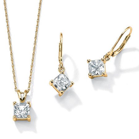 4.80 TCW Princess-Cut Cubic Zirconia 2-Pc. Set in 14k Yellow Gold over .925 Sterling Silver at PalmBeach Jewelry