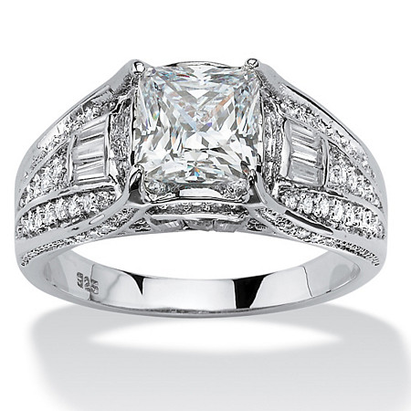 2.38 TCW Cushion-Cut Cubic Zirconia Engagement Ring in Platinum over Sterling Silver at PalmBeach Jewelry