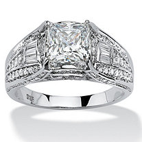 2.38 TCW Cushion-Cut Cubic Zirconia Engagement Ring in Platinum over Sterling Silver
