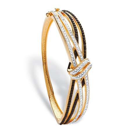 "Black and White Pave Crystal Crossover Bangle MADE WITH SWAROVSKI ELEMENTS 14k Gold-Plated 7.5"" at PalmBeach Jewelry"