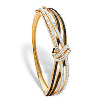 Black and White Pave Crystal Crossover Bangle MADE WITH SWAROVSKI ELEMENTS 14k Gold-Plated 7.5""