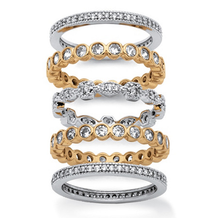 3.60 TCW 5-Piece Set of Cubic Zirconia Stackable Eternity Bands 14k Yellow Gold-Plated & Silvertone at PalmBeach Jewelry