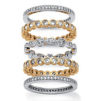 3.60 TCW 5-Piece Set of Cubic Zirconia Stackable Eternity Bands 14k Yellow Gold-Plated and Silvertone