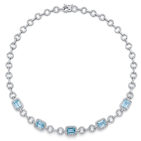 12 TCW Genuine Emerald-Cut Blue Topaz and Diamond Accent Halo Necklace in Silvertone 17
