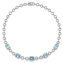 12 TCW Genuine Emerald-Cut Blue Topaz and Diamond Accent Halo Necklace in Silvertone 17""