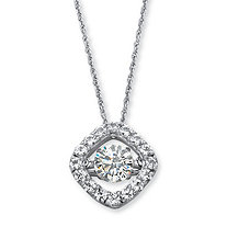"1.46 TCW Round ""CZ in Motion"" Cubic Zirconia Halo Necklace in Platinum over Sterling Silver 18"""