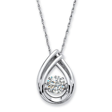 ".98 TCW Round ""CZ in Motion"" Cubic Zirconia Teardrop Necklace in Platinum over Sterling Silver 18"" at PalmBeach Jewelry"
