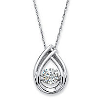 ".98 TCW Round ""CZ in Motion"" Cubic Zirconia Teardrop Necklace in Platinum over Sterling Silver 18"""