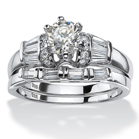 2.02 TCW Round Cubic Zirconia Two-Piece Bridal Ring Set Platinum over .925 Sterling Silver at PalmBeach Jewelry