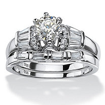 2.02 TCW Round Cubic Zirconia Two-Piece Bridal Ring Set Platinum over .925 Sterling Silver
