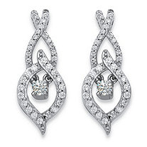 ".80 TCW Round ""CZ in Motion"" Cubic Zirconia Marquise Drop Earrings in Sterling Silver"