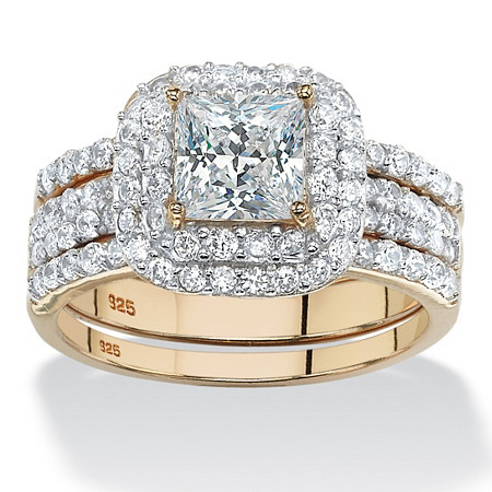 2.38 TCW Princess-Cut Cubic Zirconia 14k Gold over Sterling Silver 3-Piece Double Halo Bridal Ring Set at PalmBeach Jewelry