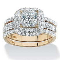 SETA JEWELRY 2.38 TCW Princess-Cut Cubic Zirconia 14k Gold over Sterling Silver Three-Piece Halo Bridal Ring Set