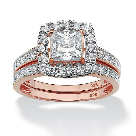 Princess-Cut Cubic Zirconia 2-Piece Halo Bridal Set 2.15 TCW in Rose Gold over Sterling Silver at PalmBeach Jewelry