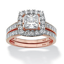 Princess-Cut Cubic Zirconia 2-Piece Halo Bridal Set 2.15 TCW in Rose Gold over Sterling Silver