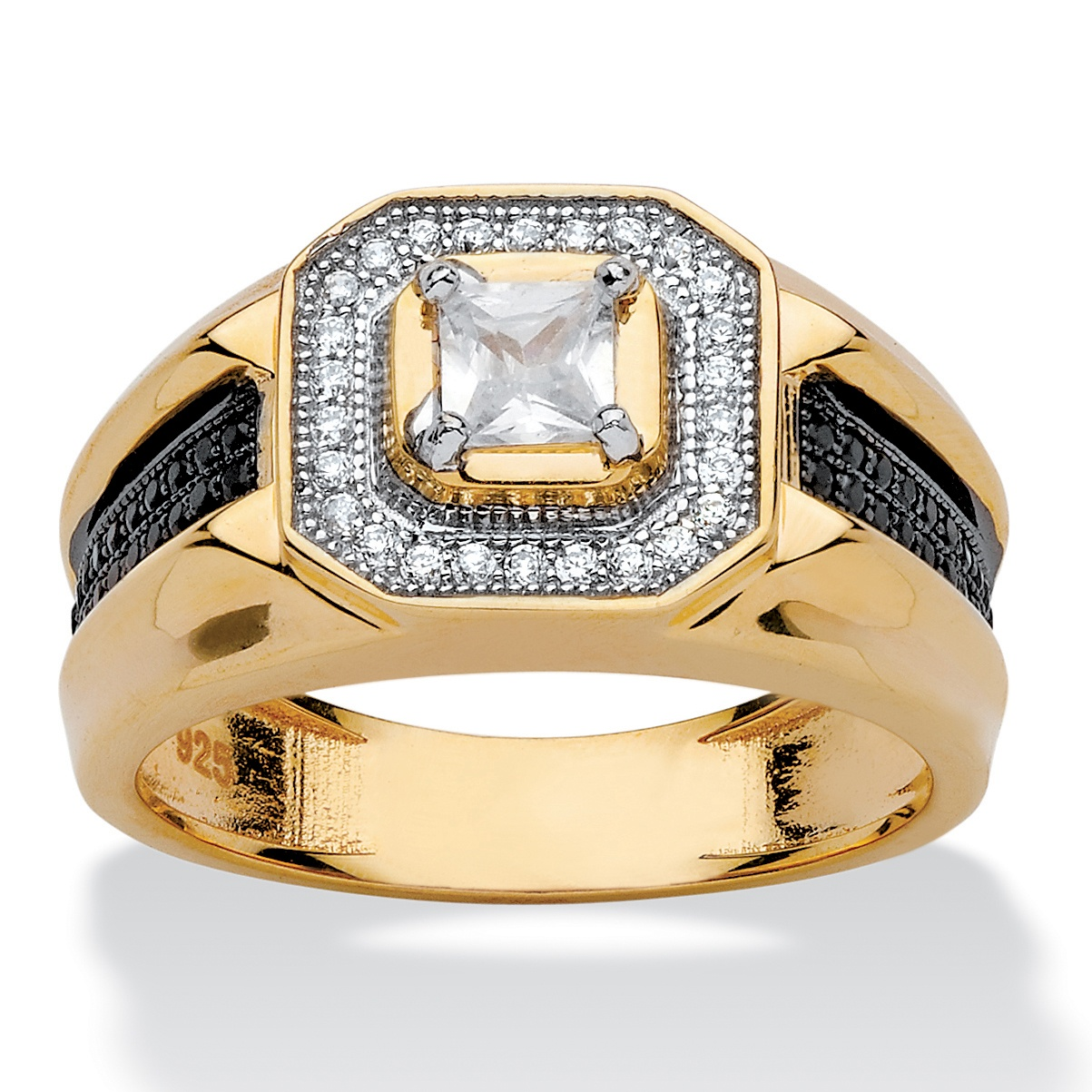 Men S 83 Tcw Square Cut Cubic Zirconia Halo Ring In 14k