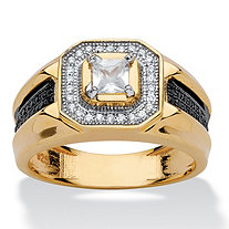 Men's .83 TCW Square-Cut Cubic Zirconia Halo Ring in 14k Yellow Gold over Sterling Silver