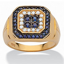 Men's 1.34 TCW Blue Sapphire and Cubic Zirconia Ring in 14k Yellow Gold over .925 Sterling Silver