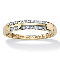 Pave Diamond Accent Horizontal Lord's Prayer Cross Band in 14k Gold over Sterling Silver