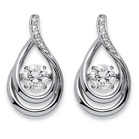 ".77 TCW ""CZ in Motion"" Cubic Zirconia Double Loop Teardrop Earrings in Platinum over Sterling Silver at PalmBeach Jewelry"