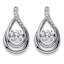 ".77 TCW ""CZ in Motion"" Cubic Zirconia Double Loop Teardrop Earrings in Platinum over Sterling Silver"