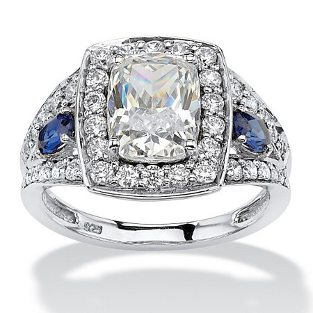 3.33 TCW Cushion-Cut Cubic Zirconia and Sapphire Accent Halo Ring in Platinum over Sterling Silver at PalmBeach Jewelry