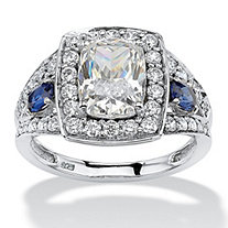 3.33 TCW Cushion-Cut Cubic Zirconia and Sapphire Accent Halo Ring in Platinum over Sterling Silver