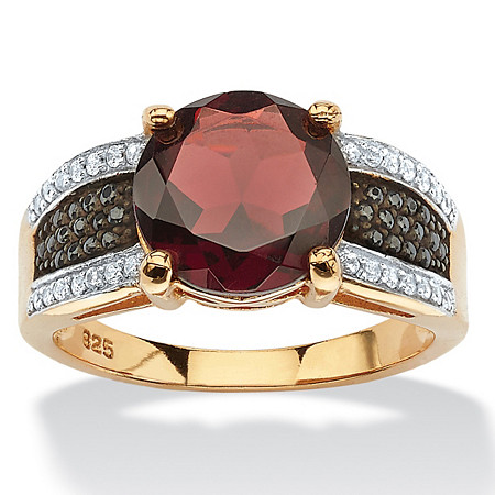 6.03 TCW Genuine Round Garnet and Pave CZ Cocktail Ring in 14k Yellow Gold over .925 Sterling Silver at PalmBeach Jewelry