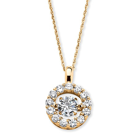 "1.76 TCW Round ""CZ in Motion"" Cubic Zirconia Halo Necklace in 14k Gold over Sterling Silver 18"" at PalmBeach Jewelry"