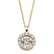 "1.76 TCW Round ""CZ in Motion"" Cubic Zirconia Halo Necklace in 14k Gold over Sterling Silver 18"""