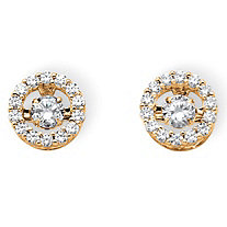 "1.92 TCW Round ""CZ in Motion"" Cubic Zirconia Halo Earrings in 14k Gold over Sterling Silver"