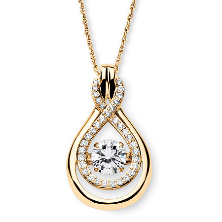 "1.24 TCW Round ""CZ in Motion"" Cubic Zirconia Drop Necklace 14k Gold over Sterling Silver 18"" at PalmBeach Jewelry"