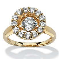 "1.76 TCW Round ""CZ in Motion"" Cubic Zirconia Halo Ring in 14k Gold over Sterling Silver"