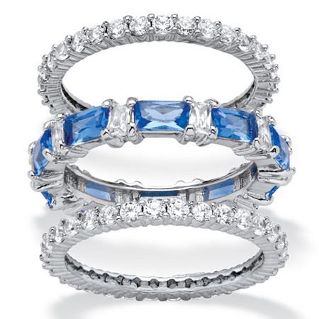 3.24 TCW Cubic Zirconia and Blue Emerald-Cut Crystal 3-Piece Eternity Ring Set Platinum-Plated at PalmBeach Jewelry
